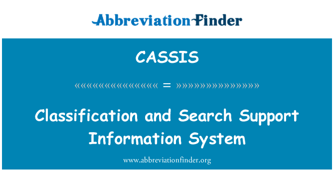 CASSIS: Classification and Search Support Information System