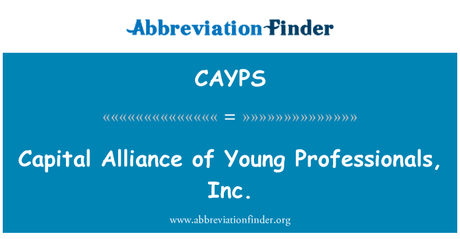 CAYPS: Kapitalo Aljanso jaunų specialistų, Inc
