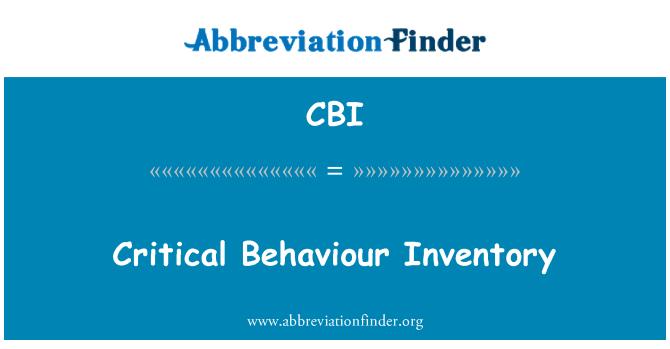 CBI: Critical Behaviour Inventory