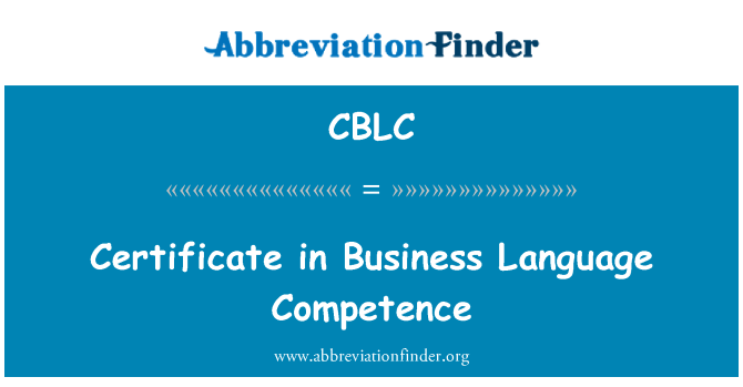 CBLC: Certificate in Business Language Competence