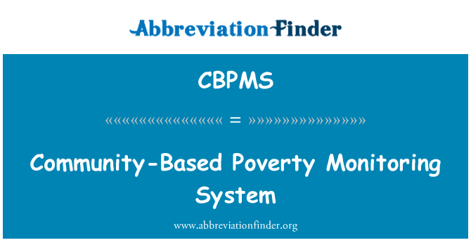 CBPMS: Community-Based Poverty Monitoring System