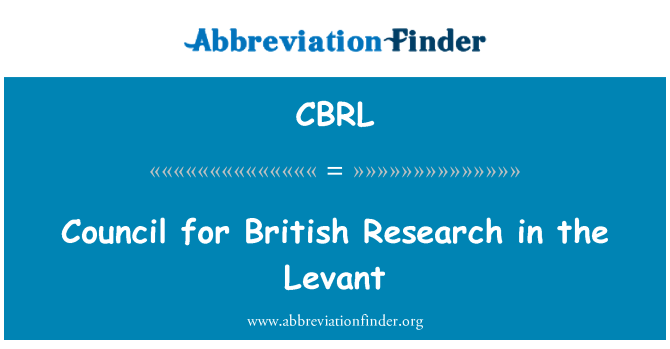 CBRL: Levant içinde İngiliz Araştırma Konseyi