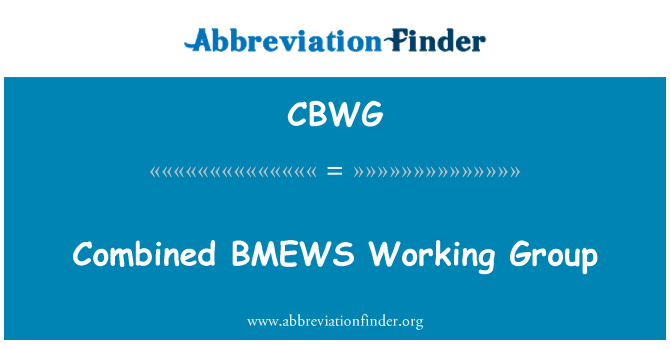 CBWG: Combined BMEWS Working Group