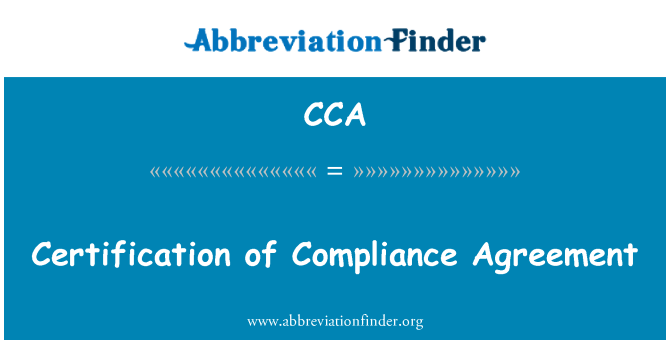 Cca Certification Of Compliance Agreement