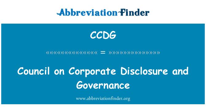 CCDG: Consejo sobre divulgación corporativa y gobierno