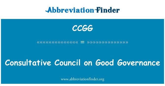 CCGG: Consultative Council on Good Governance