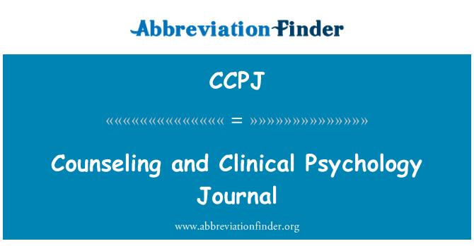 CCPJ: Консултиране и клинична психология вестник