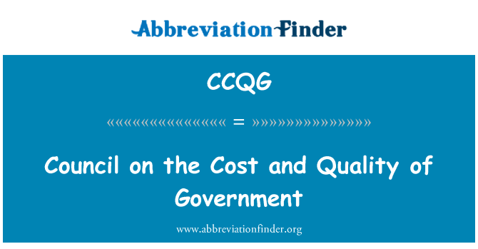 CCQG: Council on the Cost and Quality of Government