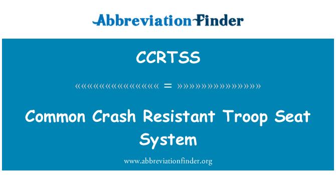 CCRTSS: Common Crash Resistant Troop Seat System