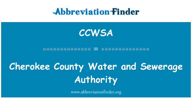 CCWSA: Cherokee County Water and Sewerage Authority