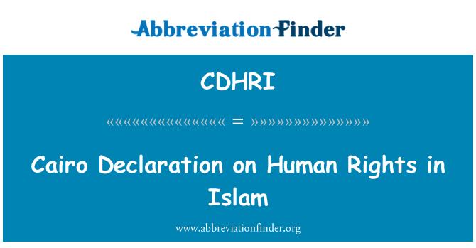 CDHRI: Cairo Declaration on Human Rights in Islam
