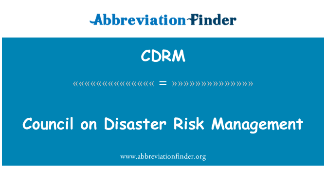 CDRM: Council on Disaster Risk Management