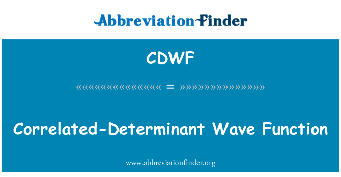 CDWF: Correlated-Determinant Wave Function