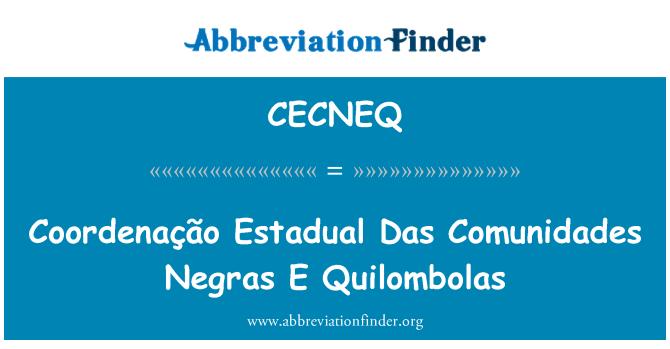 CECNEQ: Coordenação Estadual Das Comunidades Negras E Quilombolas