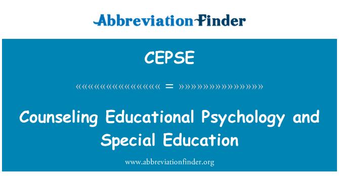CEPSE: Eğitim psikolojisi ve özel eğitim danışmanlık