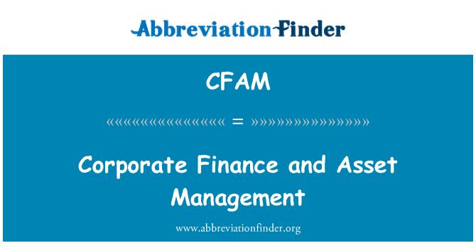 CFAM: Corporate Finance and Asset Management