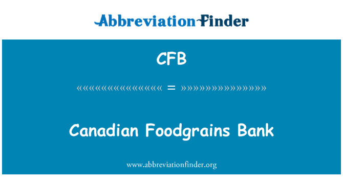 CFB: Canadian Foodgrains Bank