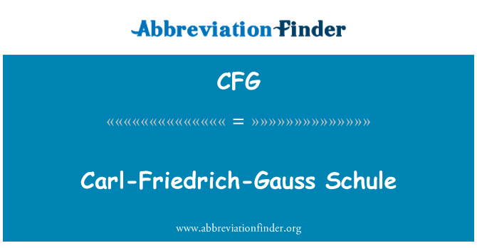 CFG: Carl-Friedrich-Gauss Schule