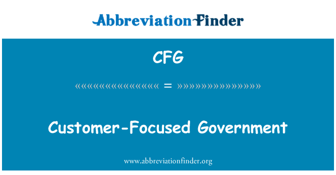 CFG: Customer-Focused Government