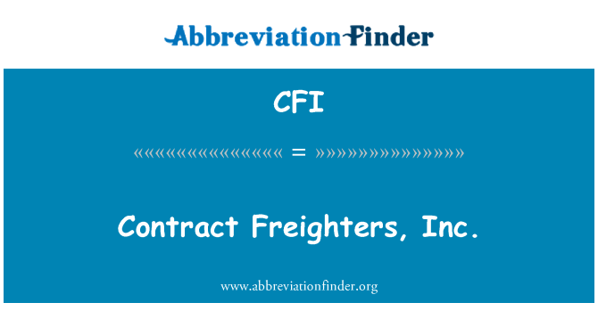 CFI: Contract Freighters, Inc.