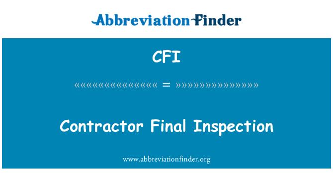 CFI: Contractor Final Inspection