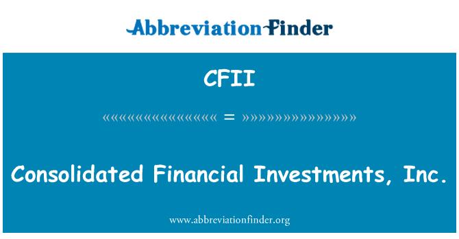 CFII: Konsolide Mali yatırımlar A.ş