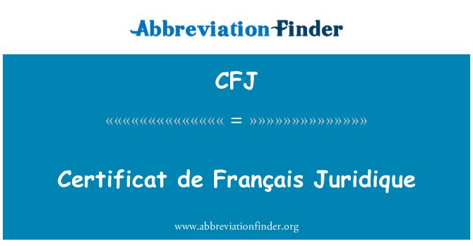 CFJ: Certificat de Français Juridique