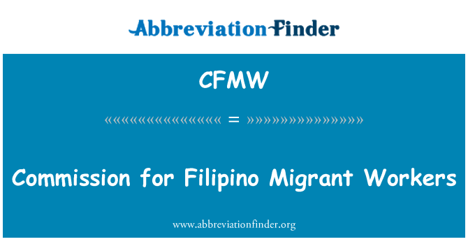 CFMW: Commission for Filipino Migrant Workers
