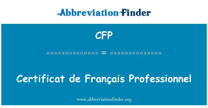 CFP: Certificat de Français Professionnel