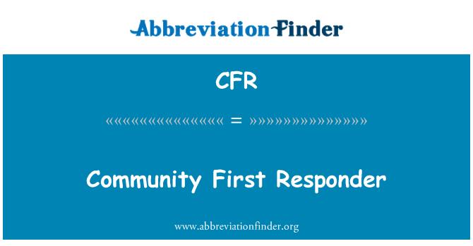 CFR: Community First Responder