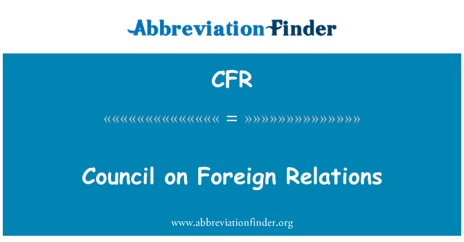 CFR: Council on Foreign Relations
