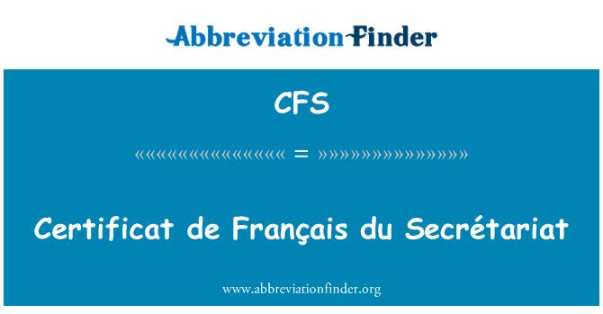 CFS: Certificat de Français du Secrétariat