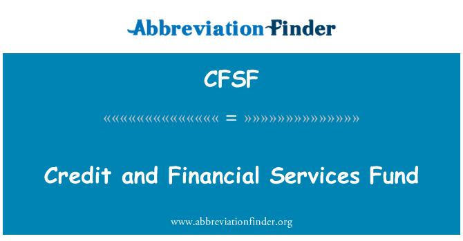CFSF: Credit and Financial Services Fund