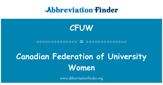 CFUW: Canadian Federation of University Women