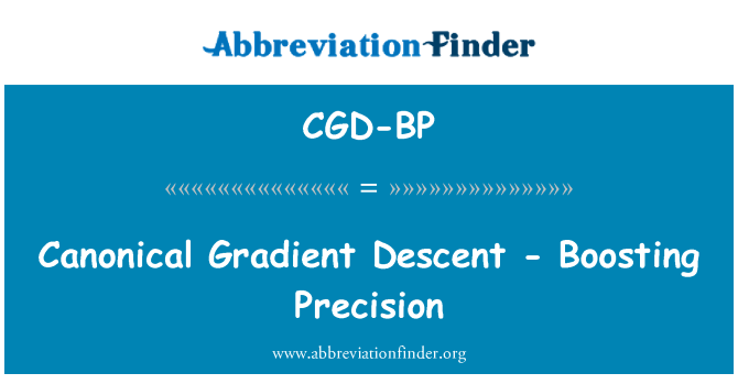 CGD-BP: Canonical Gradient Descent - Boosting Precision