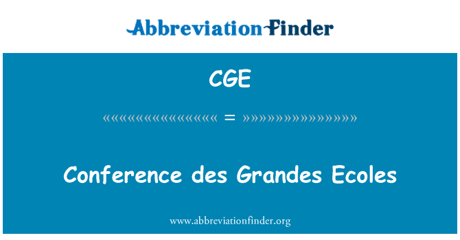 CGE: Conference des Grandes Ecoles