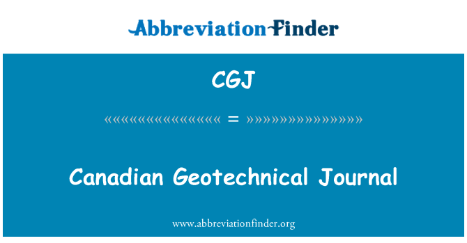 CGJ: Canadian Geotechnical Journal