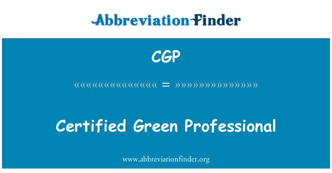 CGP: Certified Green Professional