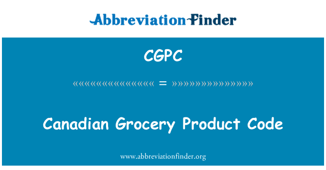 CGPC: Canadian Grocery Product Code
