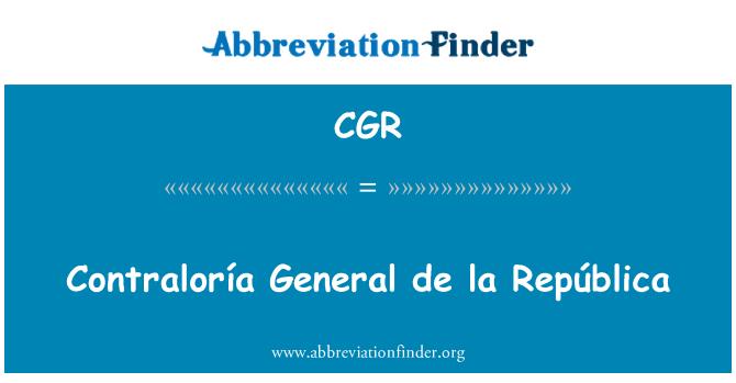 CGR: Contraloría General de la República