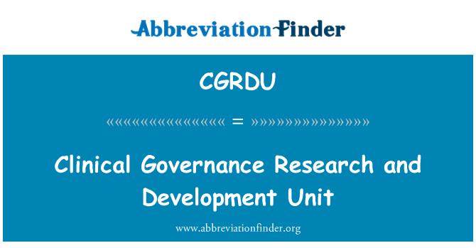 CGRDU: Gestión clínica unidad de investigación y desarrollo