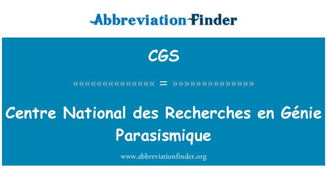 CGS: Centre National des Recherches en Génie Parasismique