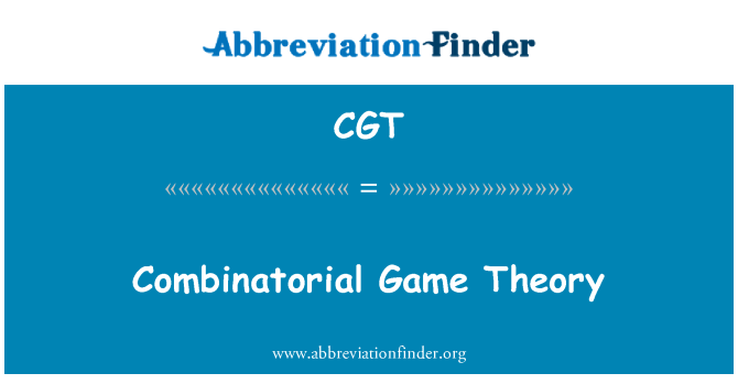 CGT: Combinatorial Game Theory