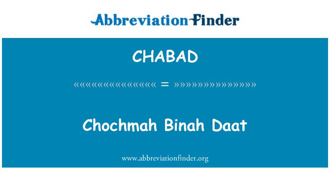 CHABAD: Chochmah Binah Daat