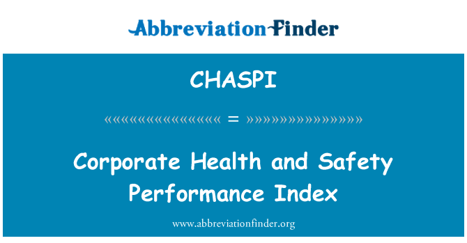 CHASPI: Corporate Health and Safety Performance Index