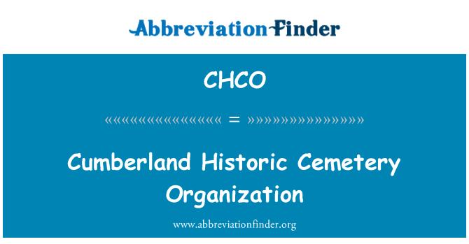 CHCO: Cumberland tarihi mezarlık organizasyon