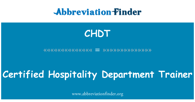 CHDT: Certified Hospitality Department Trainer