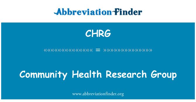 CHRG: کمیونٹی ہیلتھ ریسرچ گروپ