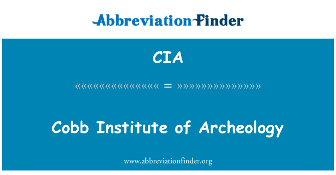 CIA: Cobb Institute of Archeology