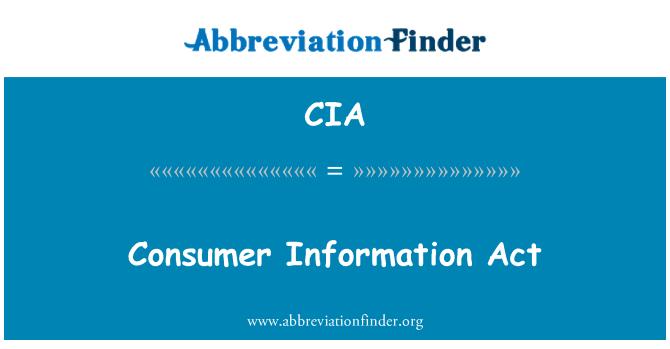 CIA: Consumer Information Act